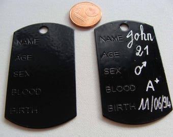 1 plaque pendentif métal émaillé à graver 51mm NOIR plaque-email-noir