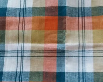 Coupon orange and green plaid fabric