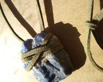 Sodalite necklace with faux suede