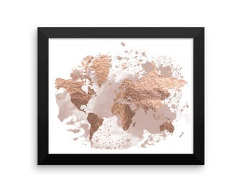 Framed poster, travel decor, large world map, framed world map, world map wall art, wall decor, home decor, travel gift, watercolor map