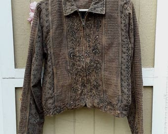 Upcycled beaded jacket, boho jacket, evening jacket,mori girl jacket.