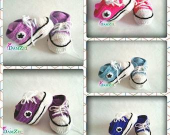 Pink crochet Baby Sneakers, crochet baby booties, Newborn Converse Shoes, Infant Crochet Booties, Baby shower gift