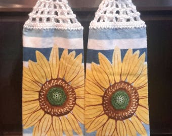 2 Cotton  HANGING DISH TOWELS with Crocheted top - Sunflowers