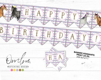 Horse Party, Horse Party Decorations, Printable Banner, Equestrian Birthday, Pony Birthday, Horse Banner, Horse Birthday