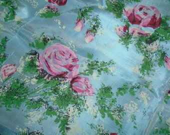 True Vintage Fabric, Synthetic fiber, Roses, curtain or light upholstery weight