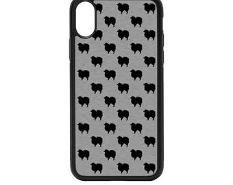 Pomeranian Silheouttes Rubber Bumper Case - iPhone X 8 7 6 5 SE, Galaxy S8 S7 S6 S5 Edge Plus, dog pattern