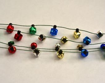Vintage,Christmas,Garland,Faux Mercury,Plastic, Beaded,Beads,Retro Decor,Tree Decor,Miniature tree decor,Silver,Red,Golden,Blue,Green