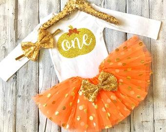 Girls pumpkin first birthday outfit, pumpkin 1st birthday outfit, orange gold birthday outfit, one pumpkin bodysuit one pumpkin outfit, gold