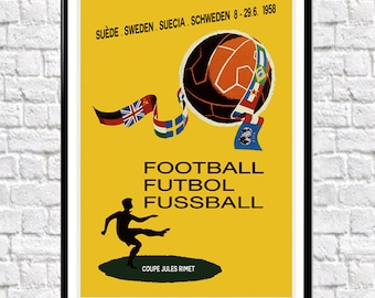 World Cup 1958 Poster Sweden Soccer Poster Football Poster Swedish Wall Art Soccer Print World Cup Print Football Poster Football Print