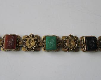 Vintage Knight Link Colored Stone Bracelet