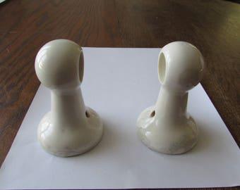 Vintage Pair White Porcelain Ceramic Towel Bar Holders Holder