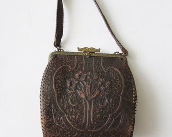 Vintage Mission Arts & Crafts Era Leather Purse Handbag  Floral Flowers