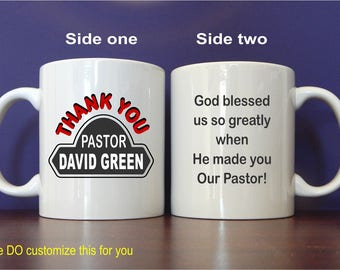 Useful Custom Thank You Mug Gift to Our Pastor, Personalized Coffee Mug for Servant of God, Coffee lover Pastor Birthday Gift, MST013