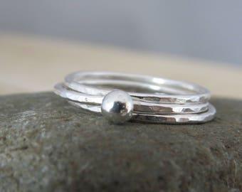 Silver stacking rings, sterling silver stacking rings, silver pebble ring stack, silver ring, pebble ring, set of three rings, ring set