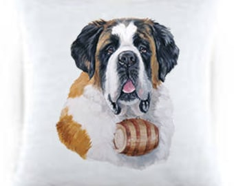 Saint Bernard Satin Throw Pillow 44058