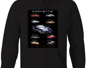 Corvette Evolution 1955 - 2001 Vette American  Hooded Sweatshirt- 5327