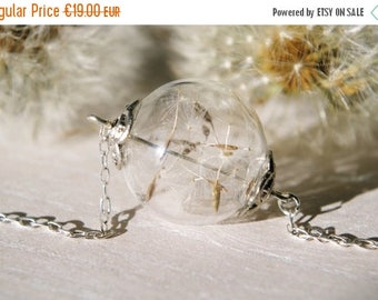 Sale Dandelion Seed Necklace Dandelion Necklace Wish Necklace Terrarium Necklace Glass orb jewelry Long necklace Anniversary gift Christmas