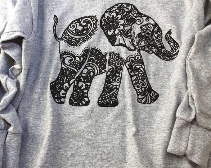 Bohemian Up-Trunk Elephant XS kid's longskeeve tee-shirt