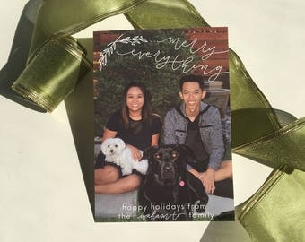 merry everything holiday photo card | hand lettered holiday card, monoline hand lettered holiday card
