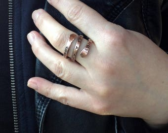 wire copper ring, twirly hammered copper, twig ring, statement ring, wire ring, stacking ring, copper jewelry