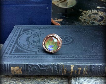 Terrarium  - glass ring, copper ring,  statement ring,botanical ring, terrarium jewelry,forget me not and fern flowers