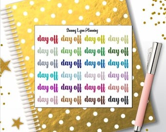 Glitter Day Off Text Planner Stickers