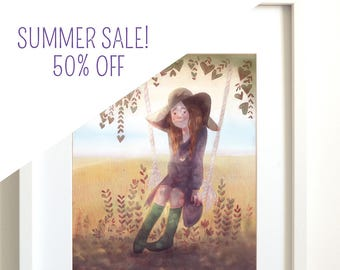 Girl sitting swing | swing | Bohemian | gypsy | gypsy style | nature | field | tree | Art Print Giclee | wall decor | Illustration | spring