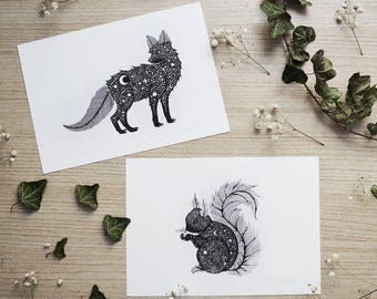 Set of 2 prints Fox & Squirrel // A5 Horizontal size Print, printed on white 250g/m paper. Wood Land Animals. Designed by Menisart