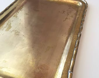 """Vintage Brass Tray, Bamboo Design Boarder, 18"""" x 12"""" Rectangle, Free Shipping"""