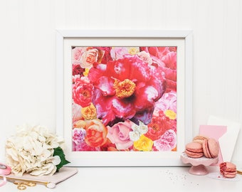 Pink Flower Explosion 10x10 Art Print Floral Collage Romantic Valentines Day Whimsical Dreamy Garden