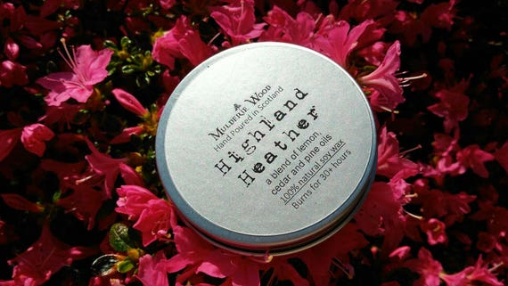 Highland Heather Scented Natural Soy Wax Tin Candle Handmade in Scotland