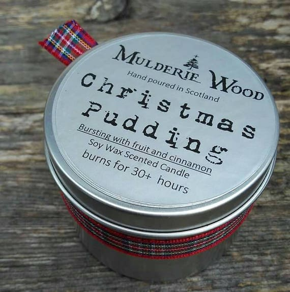 Hand Poured Christmas Pudding Scented CHRISTMAS Natural Soy Wax Tin Candle
