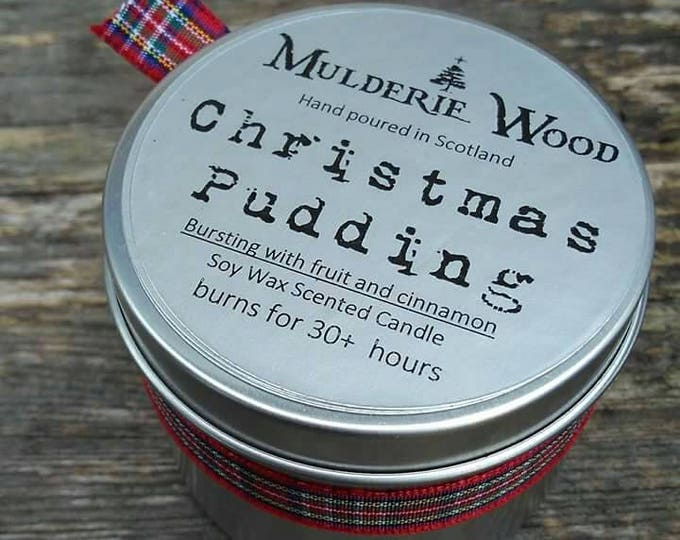 Hand Poured Christmas Pudding Scented CHRISTMAS Soy Wax Tin Candle