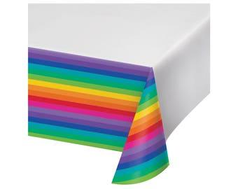 Rainbow Tablecloth - Unicorn Party, Rainbow Baby Shower, Unicorn Baby Shower, Fiesta Party, First Birthday, Baby Shower, Rainbow Baby Decor