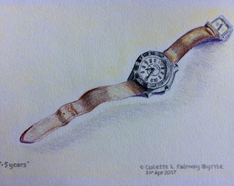 Drawing of wrist watch in 2B pencil and coloured pencils