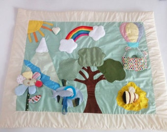 Mountain Play mat, Baby playmat, busy blanket, sensory functions: touch,hear,see and discover! Rainbow, Mountain, beehive and mirror lake!