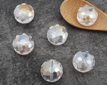 Large faceted bead, bead glass, spacer bead, clear iridescent AB, 14 mm