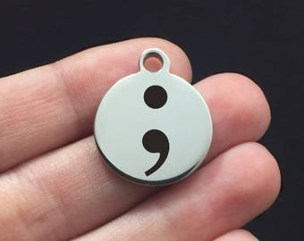 Positivity Stainless Steel Charm - Semicolon - Laser Engraved - USA - 19mm x 22mm - Quantity Options - F4L13
