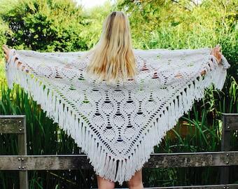 Crochet shawl ecru