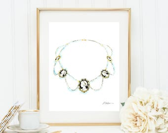 Watercolor Rendering of a Necklace in Yellow Gold, Sterling Silver and Cameos printed on Paper