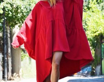 Asymmetric Extravagant Red Hooded Sweatshirt, Wadding Cotton Jacket, Maxi Sweatshirt with Pockets by SSDfashion