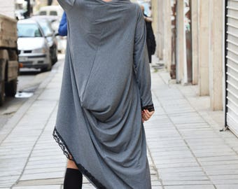 Oversize Maxi Tunic Top, Loose Casual Dress, Asymmetric Sleeves Tunic, Long Gray Dress by SSDfashion