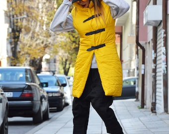 Asymmetric Yellow Vest, Waterproof Extravagant High Collar Vest, Warm Jacket, Plus Size Vest, Maxi Sleeveless Coat by SSDfashion