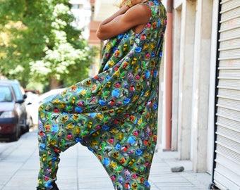 Women's Colorful Jumpsuit, Cotton Loose Jumpsuit, Casual Birds Printed Jumpsuit, Maxi Drop Crotch Jumpsuit by SSDfashion