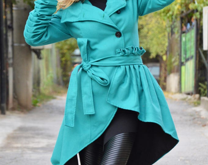 Extravagant Cape Cashmere Coat, Womens Wool Asymmetric Coat, Long Sleeves Casual Cashmere Jacket By SSDfashion