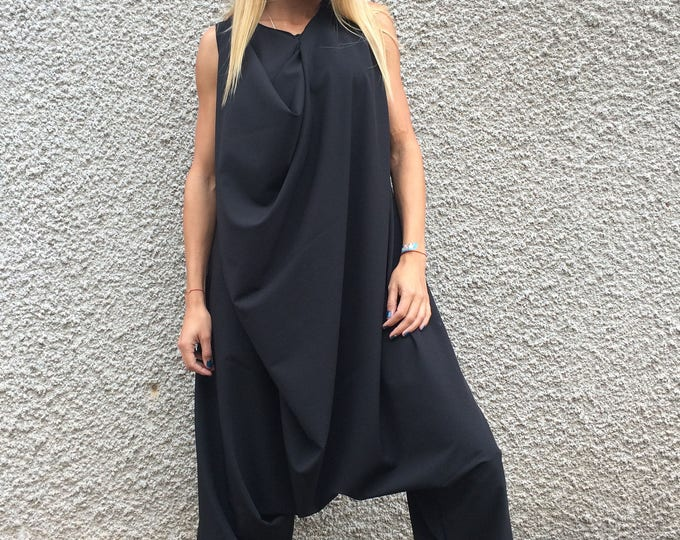 Black Cotton Harem Jumpsuit, Wide Leg Maxi Romper, Extravagant Loose Casual Jumpsuit With Zipper By SSDfashion