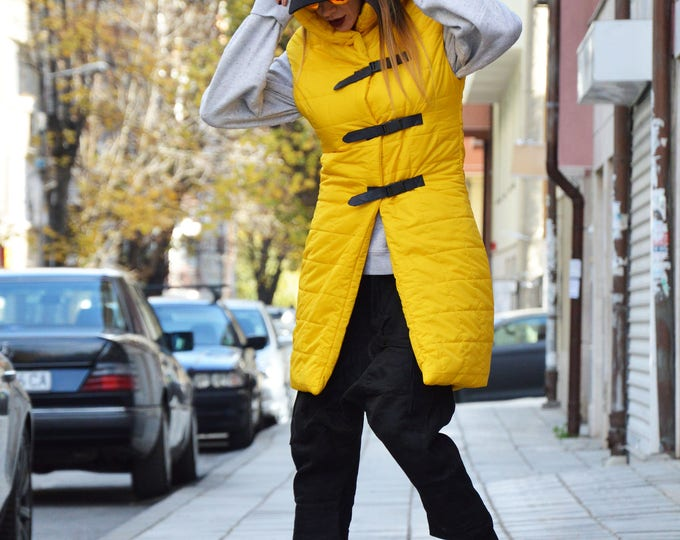 Extravagant High Collar Vest, Sleeveless Long Yellow Vest, Asymmetric Waterproof Windproof Jacket by SSDfashion