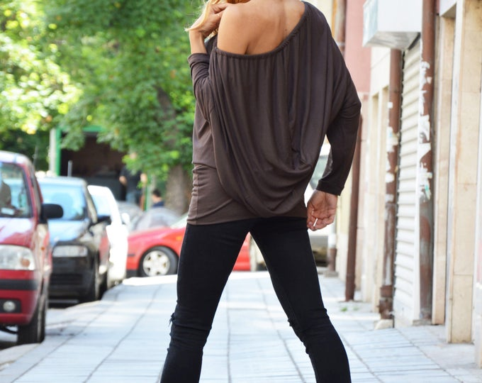 Brown Asymmetrical Sleeves Tunic Top, Oversize Loose Cotton Top, Women Dress, Casual Maxi Top by SSDfashion