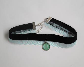 Velvet lace choker necklace green black handmade