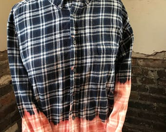 Croft and Barrow Ombre Bleached Long Sleeve Button up Shirt